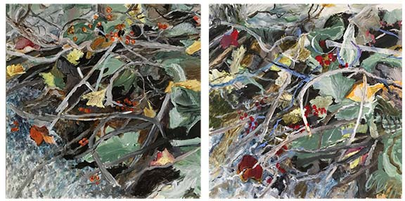 Jane Sherrill's Bundles paintings together as a dyptich